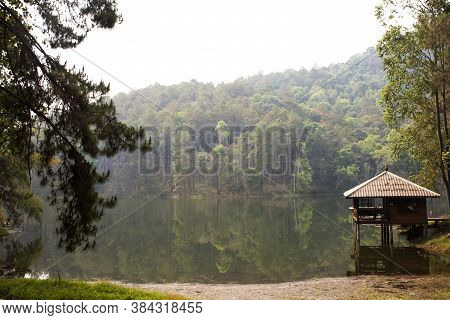 View Landscape Of Pang Ung Lake In Pang Oung Forest Park Or Switzerland Of Thailand In Authentic Chi