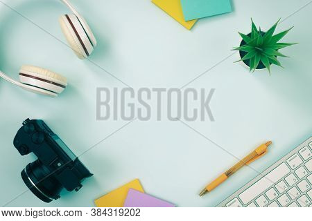 Modern Clean Creative Office Desk Or Table On Top View Or Flat Lay And Stationery As Keyboard Headph
