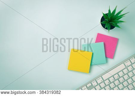 3 Stick Note And Office Plants And Computer Keyboard On Modern Creative Office Desk Or Office Table