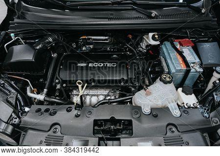 Novosibirsk, Russia - September 05, 2020: Chevrolet Aveo, Closeup Of A Clean Motor Block, . Internal