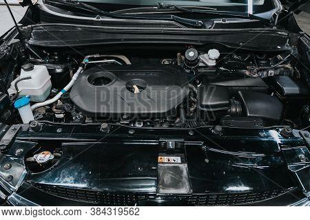 Novosibirsk, Russia - September 05, 2020: Hyundai Ix35, Closeup Of A Clean Motor Block, . Internal C