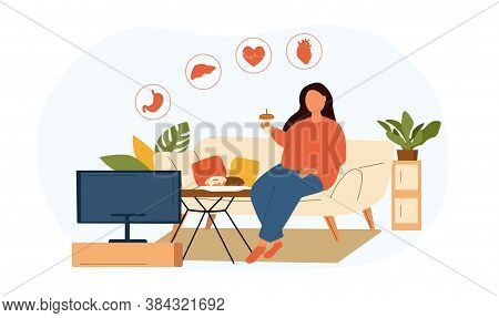 Obesity Through Unhealthy Lifestyle Concept Showing A Fat Woman Eating Takeaways In Front Of The Tv