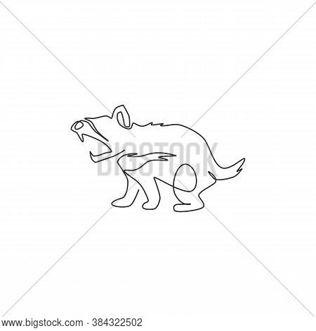 One Continuous Line Drawing Of Fierce Tasmanian Devil For Company Logo Identity. Carnivorous Marsupi