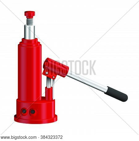 Hydraulic Car Jack. Car Belt In Repair Shops. Increased Lift. Lifting Automobile To Change Wheels. R