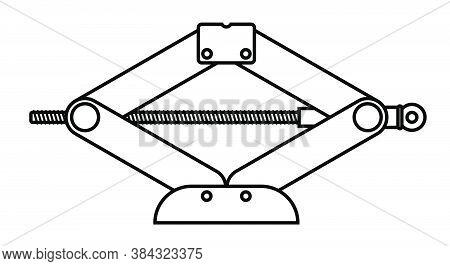 Mechanical Hand Car Jack Icon. Belt In Repair Shops. Increased Lift. Lifting The Car To Change Wheel