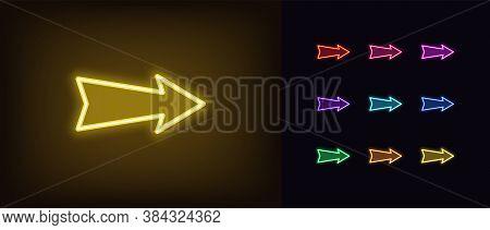 Neon Arrow Icon. Glowing Neon Pointer Sign, Straight Arrow In Vivid Colors. Retro Navigation, Arrow
