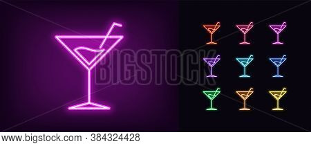 Neon Cocktail Drink Icon. Glowing Neon Martini Sign, Cocktail Party In Vivid Colors. Alcohol Drinks