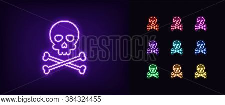 Neon Jolly Roger Icon. Glowing Neon Skull With Crossbones, Skeleton Head In Vivid Colors. Pirate Fla