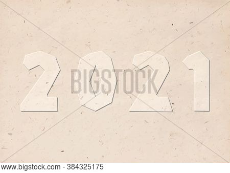 2021 Handmade Cut Numbers With Brown Kraft Carton Paper Handicraft Font Style, Stock Vector Illustra