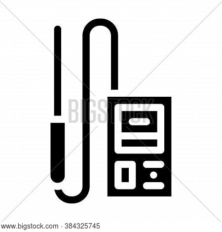 Electromagnetic Field Detector Measuring Equipment Glyph Icon Vector Illustration