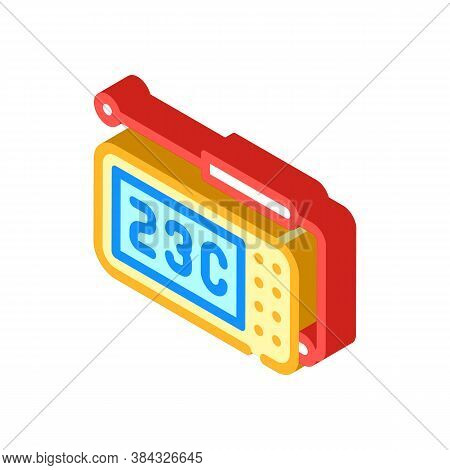 Thermometer With Probe Measuring Equipment Isometric Icon Vector Illustration