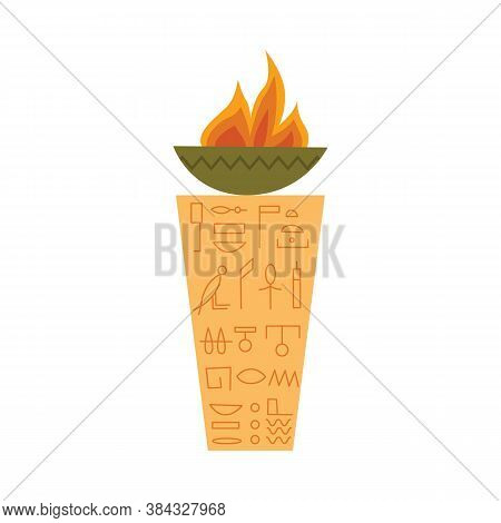 Ancient Egyptian Sacrificial Altar With Fire Flat Vector Illustration Isolated.