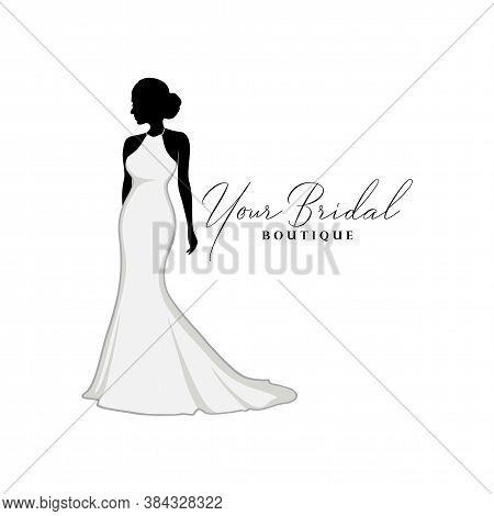 Beautiful Wedding Dresses Boutique Logo, Bridal Boutique Logo, Bridal Gown Logo Vector Design Templa