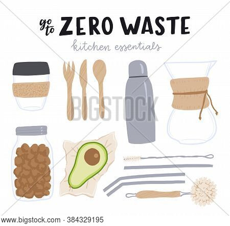 Set Of Cartoon Style Cooking Outfit And Cutleries With Hand Drawn Lettering Inscription Zero Waste K