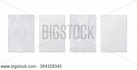 Set White Wrinkled And Creased Posters, Realistic Vector Illustration Isolated.