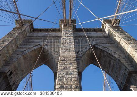 Brooklyn Bridge At Daylight, New York City , Manhattan And Brooklyn