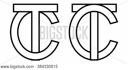 Logo Sign Tc Ct Icon Sign Two Interlaced Letters T, C Vector Logo Tc, Ct First Capital Letters Patte