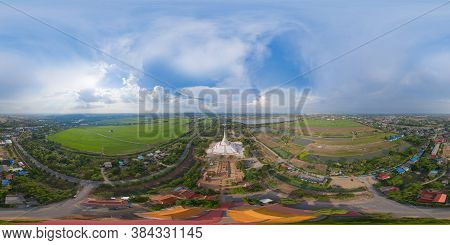 360 Panorama By 180 Degrees Angle Seamless Panorama Of Aerial View Of Temple In Ayutthaya Province,