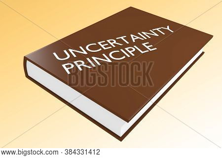 3d Illustration Of Uncertainty Principle Script On A Book, Isolated On Orange Gradient.