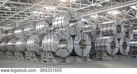 Rolls of metal sheet. Zinc, aluminium or steel sheet rolls on warehouse in factory. 3d illustration