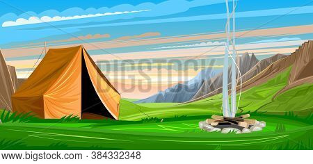 Mountain Landscape With A Tent. Extinguishing Bonfire In The Clearing. Morning. The Sky Is In The Cl