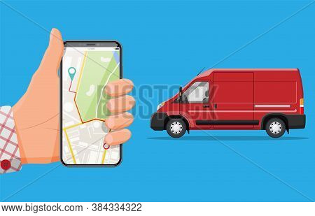 Red Delivery Van And Smartphone With Navigation App. Express Delivering Services Commercial Truck. C