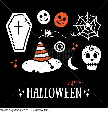 Skeleton Head, Coffin, Spider Web With Little Spider, Eyeball, Moon, Witch Hat Icons. Set, Collectio