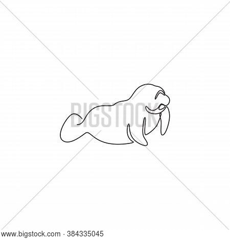 One Continuous Line Drawing Of Cute Manatee For Aquatic Company Logo Identity. Sea Cow Mascot Concep