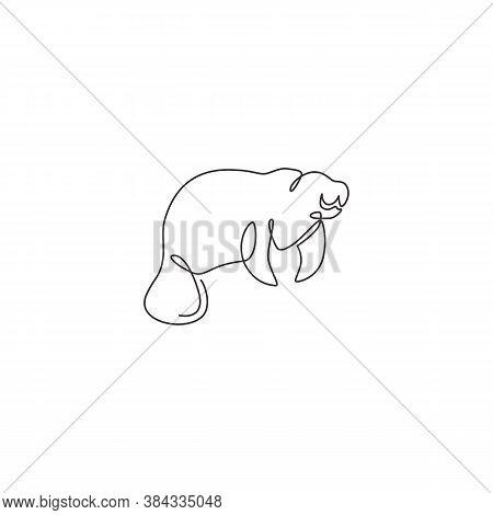 One Single Line Drawing Of Adorable Manatee For Foundation Logo Identity. Herbivorous Marine Mammals