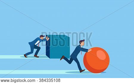Winning Strategy Business Concept. Competition. Enterprising Businessman Pushes Sphere. Behind Are P