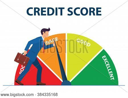 Credit Score Concept. Businessman Pushing Scale Changing Credit Information From Poor To Good, Excel