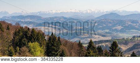 Springtime Krivanska Mala Fatra Mountains From Javorniky Mountains Between Vojtov Vrch And Chotarny