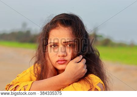 Close Up Of Fashionable Indian Model Woman  Face Beauty  , Beauty Woman Face Profile Clean Healthy S
