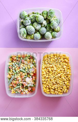 Plastic Containers With Frozen Vegetables On Color Background, Top View, Different Frozen Vegetables