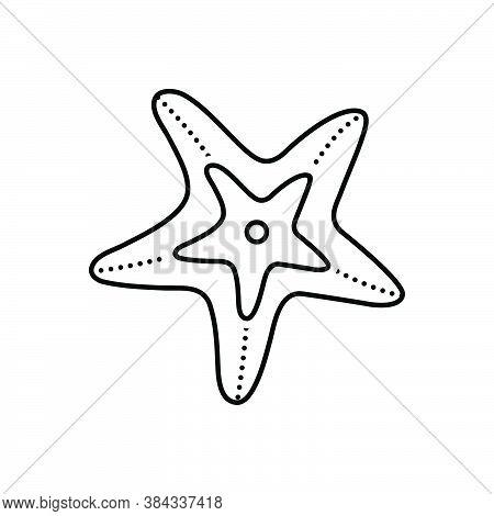 Black Line Icon For Starfish Echinoder Star-fish Asteroidea Sea-star Creature Aquatic Crustacean Fiv