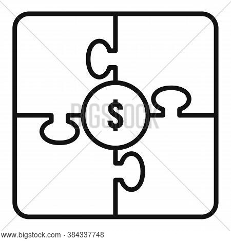 Crowdfunding Puzzle Icon. Outline Crowdfunding Puzzle Vector Icon For Web Design Isolated On White B