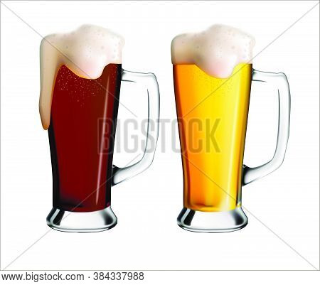 Realistic Image Of Glass Mugs With Light And Dark Beer.  Oktoberfest Holiday.