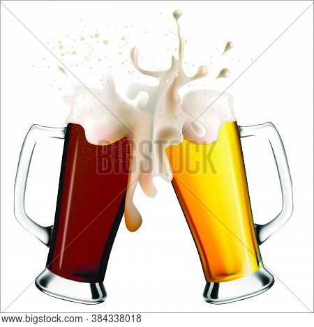Realistic Image Of Glass Mugs With Light And Dark Beer. Colliding Glasses Of Spilling Beer.  Oktober