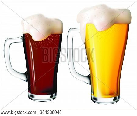 An Isolated Image Of Light And Dark Beer With Foam In Glass Mugs.vector Realistic Illustration Of Be