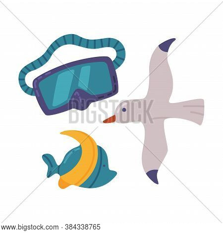 Travel Or Vacation Accessories Set, Diving Mask, Seagull, And Sea Fish, Journey On Holidays, Adventu
