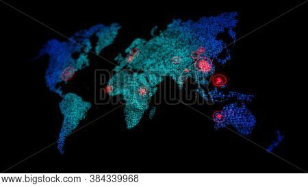 3d Dot World Map With Red Circle Aim Target On The Map, For Futuristic Concept, With Shallow Depth O