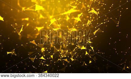 Abstract Background Dot And Connect Line For Cyber Technology Futuristic And Network Connection Conc