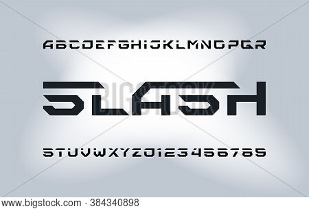 Slash Alphabet Font. Geometric Letters And Numbers. Stock Vector Typescript For Your Typography Desi