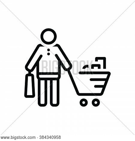 Black Line Icon For Buyer Purchaser Grocery Vendee Trolly Consumable Purchase Shopping Consumer Pros