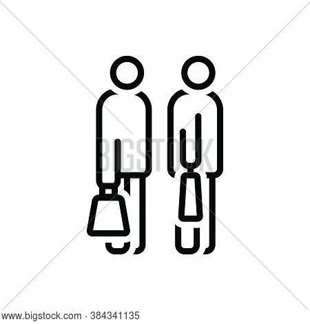 Black Line Icon For Going-to-shopping Together Excitement Purchaser Shopping Consumer Prospective-bu