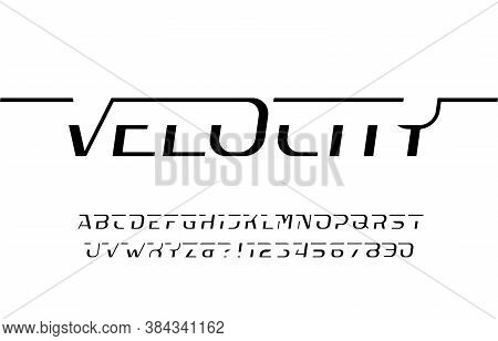 Velocity Alphabet Font. Dynamic Letters And Numbers. Stock Vector Typescript For Your Typography Des