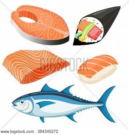 Set Of Salmon Fillet Set Vector Illustration.