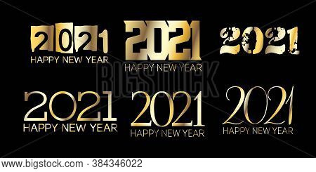 Set Of Golden Foil 2021 Banner Christmas Logo Background. Happy New Year Poster Design. Winter Holid