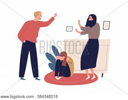 Distraught And Furious Husband Yell And Threaten Mother And Crying Child. Domestic Violence, Abusive