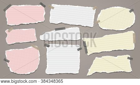 Set Of Torn White And Colorful Note, Notebook Paper Pieces Stuck With Sticky Tape On Dark Background